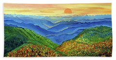 Beach Towel featuring the painting Blue Ridge Mountain Morn by Ecinja Art Works