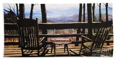 Blue Ridge Mountain Porch View Beach Towel