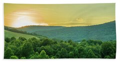 Blue Ridge Mountain Sunset Beach Sheet by Henri Irizarri