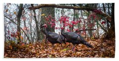 Blue Ridge Turkey Trot Beach Towel by Karen Wiles