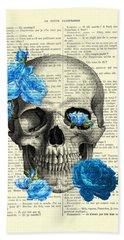Blue Roses With Skull Art Print Beach Towel