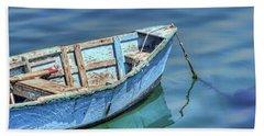 Blue Rowboat At Port San Luis 2 Beach Towel