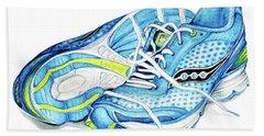 Blue Running Shoes Beach Sheet