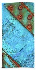 Blue Rusty Boat Detail Beach Towel by Lyn Randle
