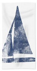 Blue Sail Boat- Art By Linda Woods Beach Towel