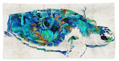 Blue Sea Turtle By Sharon Cummings  Beach Towel