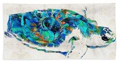 Blue Sea Turtle By Sharon Cummings  Beach Sheet by Sharon Cummings