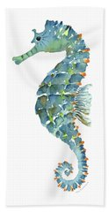 Blue Seahorse Beach Towel by Amy Kirkpatrick