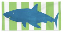 Blue Shark 1- Art By Linda Woods Beach Towel