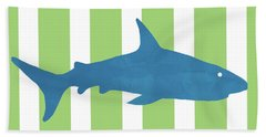 Blue Shark 2- Art By Linda Woods Beach Towel
