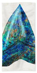 Blue Shark Tooth Art By Sharon Cummings Beach Towel by Sharon Cummings