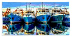 Blue Shrimp Boats Beach Sheet