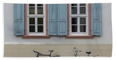 Blue Shutters And Bicycles Beach Towel