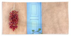 Blue Shutters And Chili Peppers Beach Towel