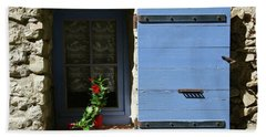 Beach Towel featuring the photograph Blue Shutters by Rasma Bertz