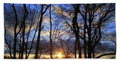 Blue Skies And Golden Sun Beach Sheet by J R Seymour