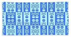 Blue Skull And Crossbones Pattern Beach Towel