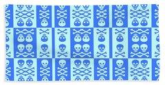 Blue Skull And Crossbones Pattern Beach Towel by Roseanne Jones