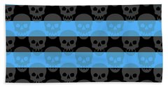 Blue Skull Stripes Beach Towel