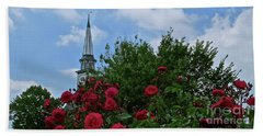 Blue Sky And Roses Beach Towel