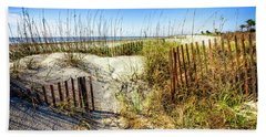 Beach Sheet featuring the photograph Blue Sky Dunes by Debra and Dave Vanderlaan