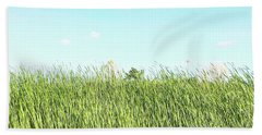 Beach Sheet featuring the photograph Blue Sky Over Green Grass by Cindy Garber Iverson