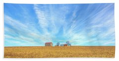 Beach Towel featuring the digital art Blue Skys And Yellow Fields by Randy Steele