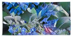 Blue Splash - Flowers Of Spring Beach Towel by Miriam Danar