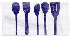 Blue Spoons- Art By Linda Woods Beach Towel