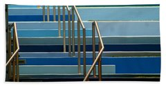 Stairs Blue Abstract In New Orleans Louisiana Beach Sheet by Michael Hoard