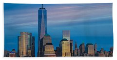 Blue Sunset At The World Trade Center Beach Sheet by Eleanor Abramson
