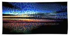 Blue Sunset On The Lake  Beach Towel