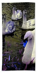 Blue Swan Beach Towel