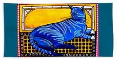 Beach Sheet featuring the painting Blue Tabby - Cat Art By Dora Hathazi Mendes by Dora Hathazi Mendes