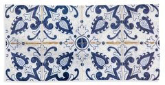 Blue Tile Of Portugal Beach Sheet