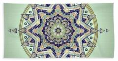 Blue Tile Star Mandala Beach Towel by Deborah Smith