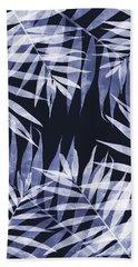 Blue Tropical Leaves Beach Sheet