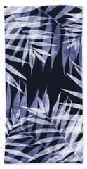Blue Tropical Leaves Beach Towel