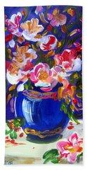 Blue Vase And Fresh Flowers Beach Towel