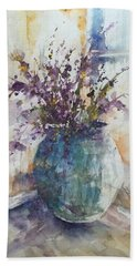 Blue Vase Of Lavender And Wildflowers Aka Vase Bleu Lavande Et Wildflowers  Beach Sheet