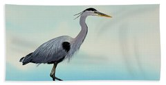 Beach Sheet featuring the painting Blue Water Heron by James Williamson