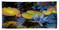 Blue Water Lily Pond Beach Towel