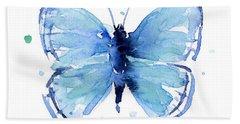 Blue Watercolor Butterfly Beach Towel