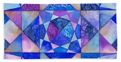 Blue Watercolor Quilt Beach Towel by Kristen Fox