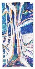 Blue-white Full Moon River Tree Beach Towel