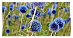 Blue Wild Thistle Beach Towel