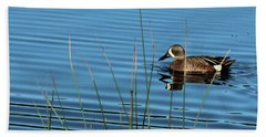Beach Towel featuring the photograph Blue Winged Teal by Ann E Robson