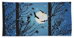 Beach Towel featuring the digital art Blue Winter Moon by Kim Prowse