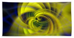 Blue Yellow Abstraction Beach Towel by Cathy Donohoue