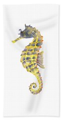 Blue Yellow Seahorse - Vertical Beach Sheet by Amy Kirkpatrick